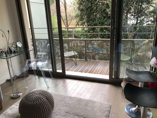 Living room and glass door