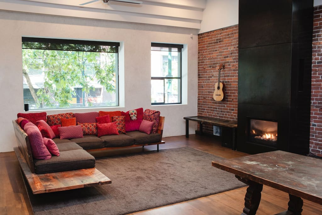 Living Room with Iron Fireplace.