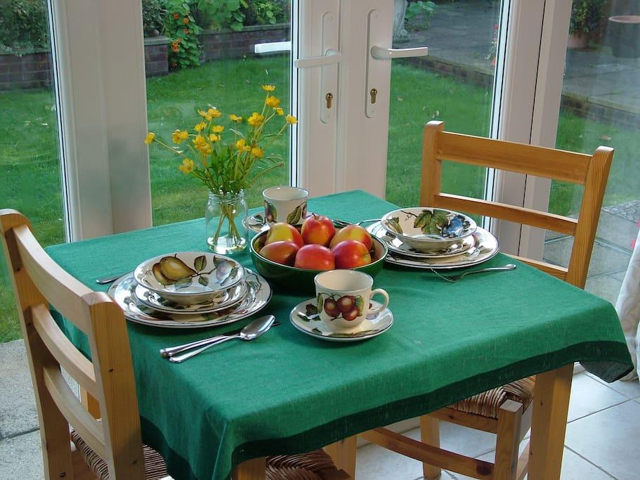Enjoy the early morning sun over breakfast.