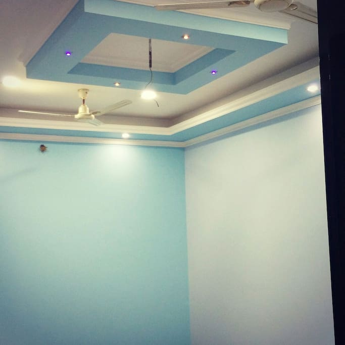Spacious sky color painted Room