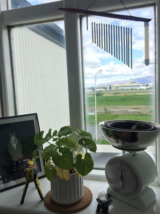 View from dining area, overlooking Hallgrímskirkja and Esjan mountain