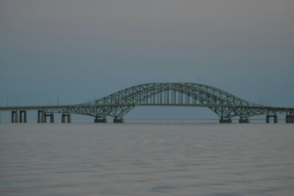 Robert Moses Bridge to ocean beaches, view from our living room deck.