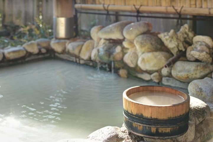 Natural cloudy Hot Spring Ryokan Hotel in Hakone without meals