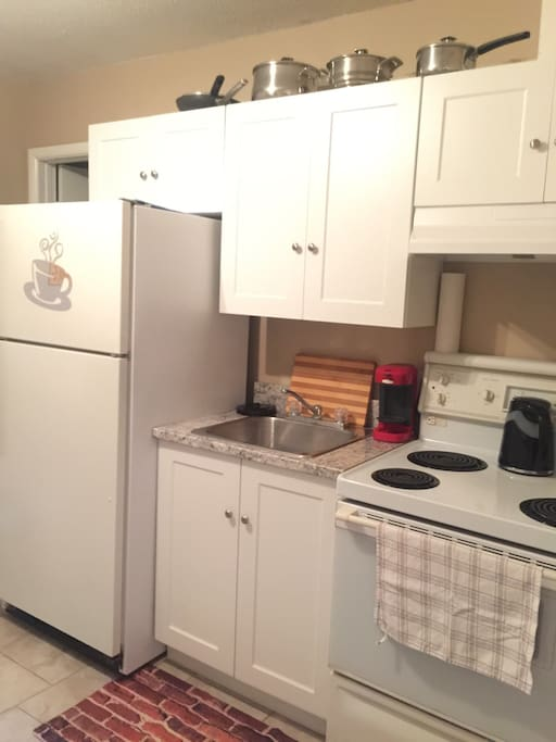Renovated kitchen with fridge, stove and microwave