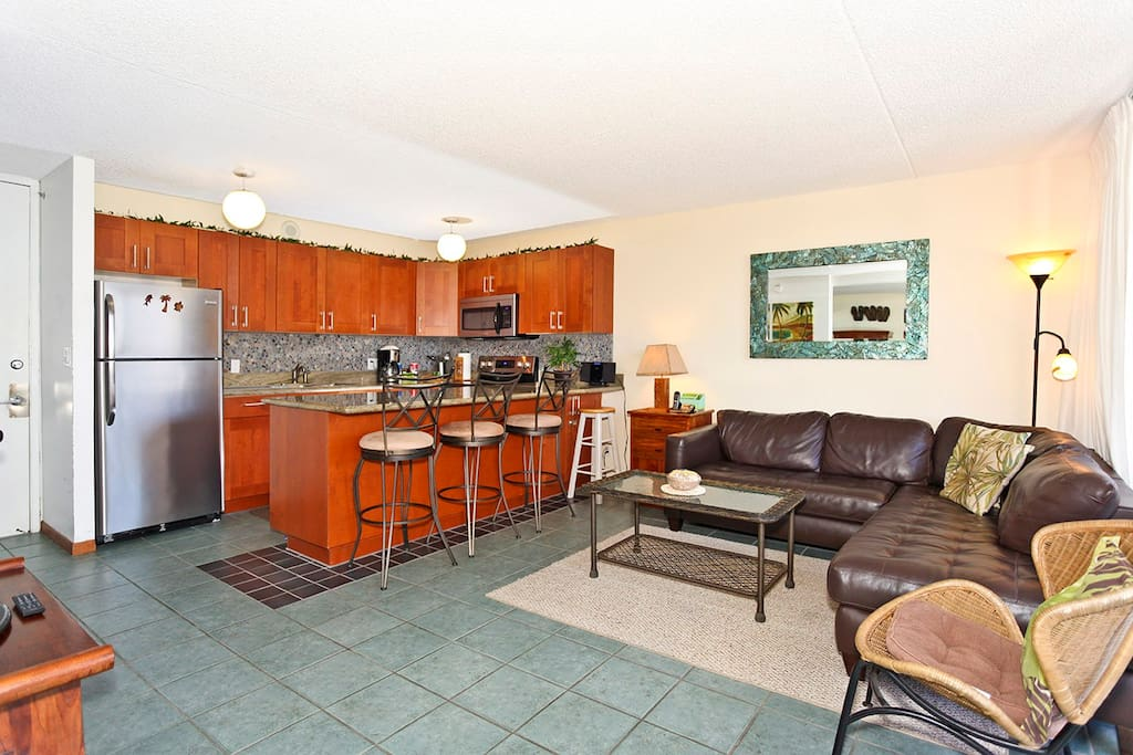 Recently remodeled kitchen and living room