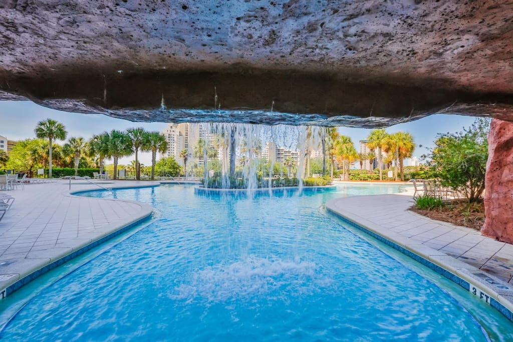 Waterfall feature at the pool deck