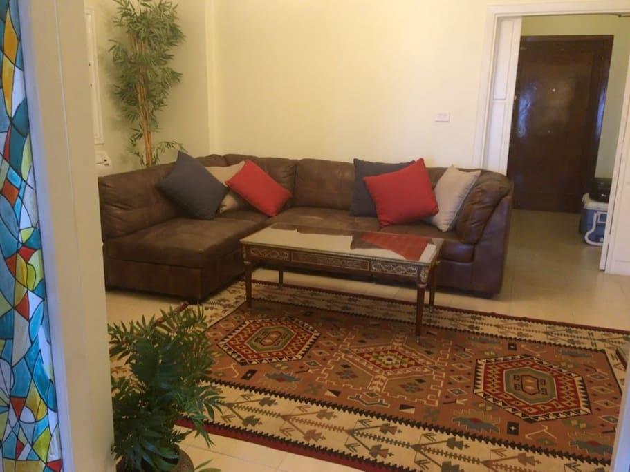 reception l shape sofa area