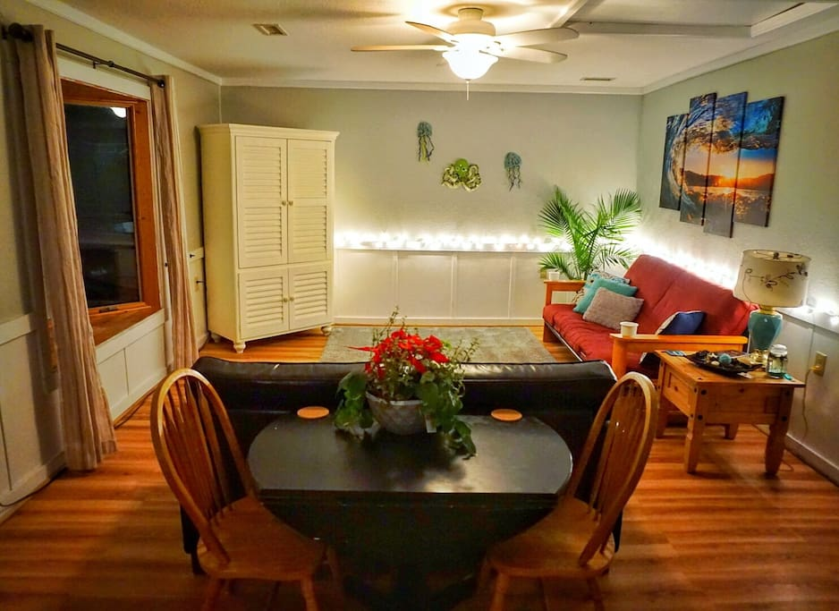 Beautiful ambiance lighting at night...Cute dining table between living room and kitchen