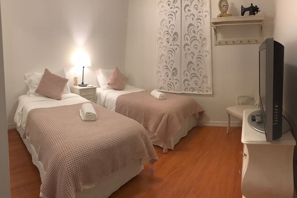Twin Beds w/ Pillow top mattresses to rest & relax.
