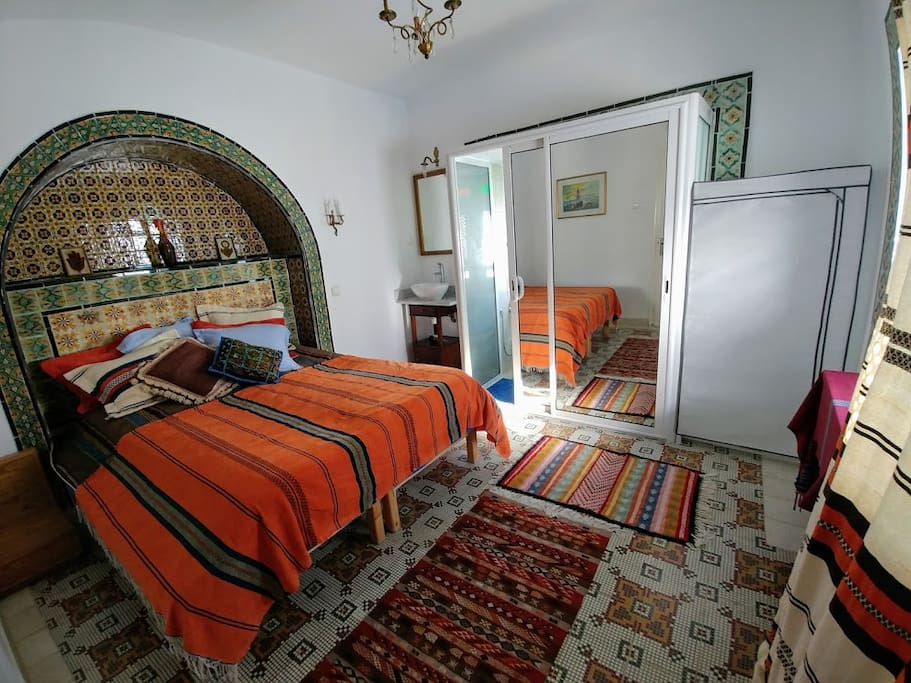 The 'Berber Suite' includes authentic artisanal Tunisian rugs and Berber art.
