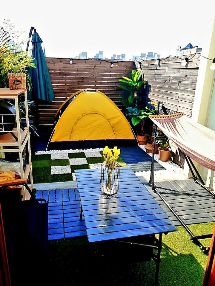 [비밀정원2]#프라이빗 캠핑#화정역3분#복층 침실과 도심속에서 즐기는 바베큐 파티 ♡