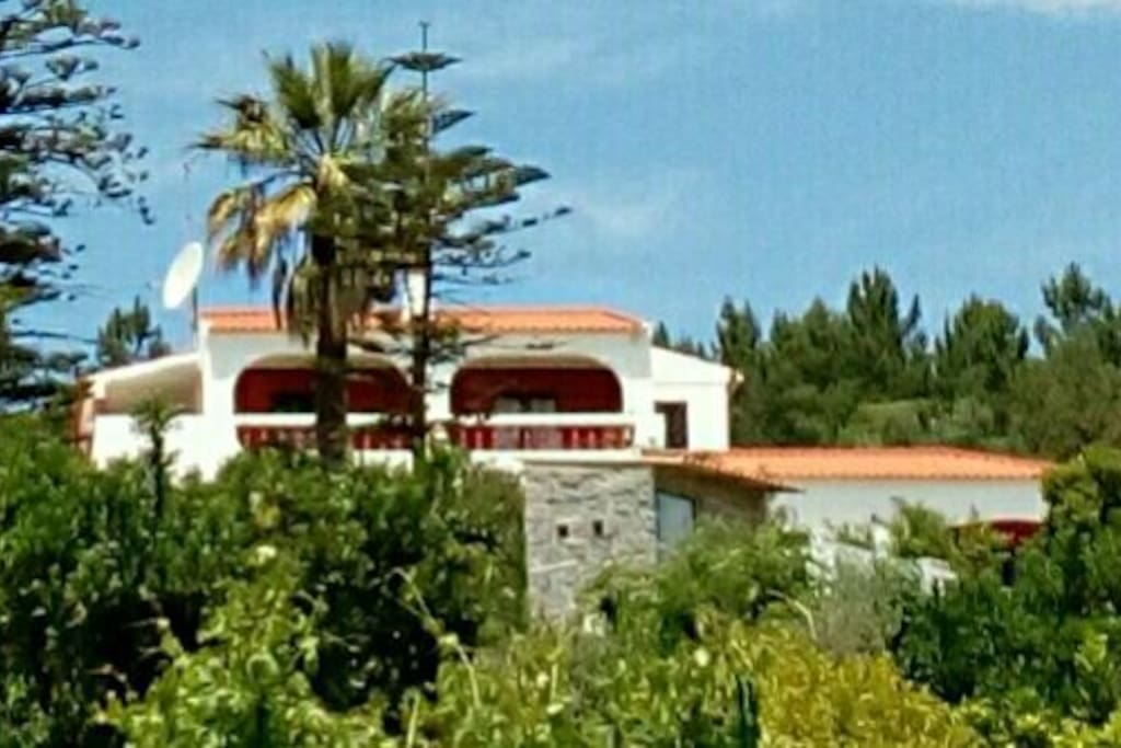The front of the Villa (showing upper level and side wing only)