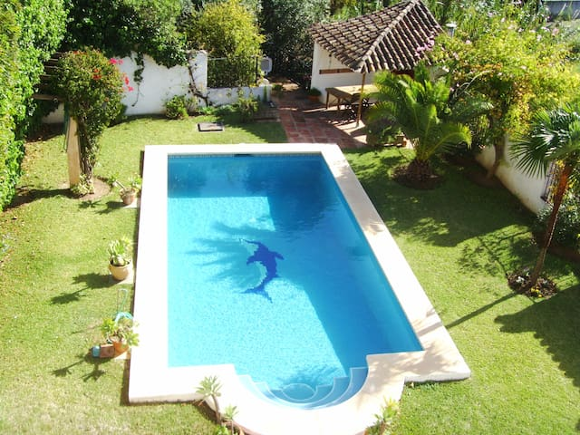 Pool, garden and BBC
