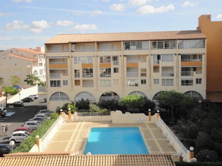Cap d'Agde,  RDC piscine 500m plage parking