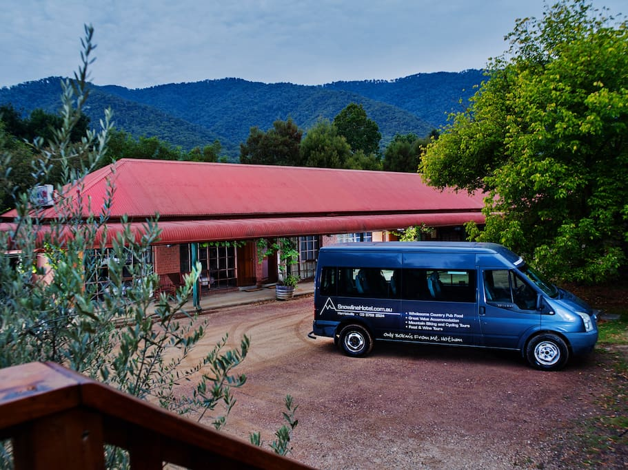 Our 16 room Motel is a stones throw from the pub and provides great value accommodation with modern ensuite rooms sleeping 2-6 people per room. Our 11 seat mini bus is available for Mt Hotham trips in the winter and food & wine tours or hiking/cycling transfers year round
