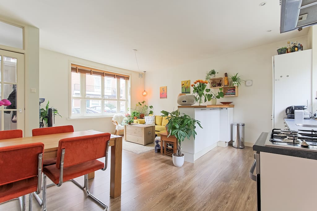 Bright living room with open plan kitchen