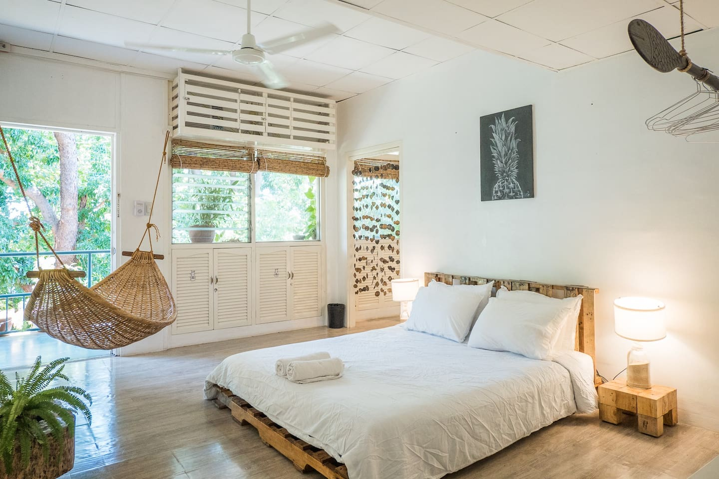 Our Ocean Nest is a small studio good for 4 guests. Pictured here is our super comfy queen bed