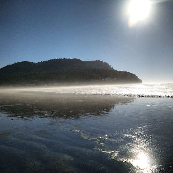 Beach view of the Cove and Tillamook Head,