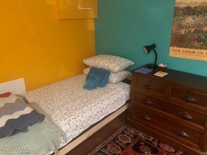 Cheery Leslieville basement room.