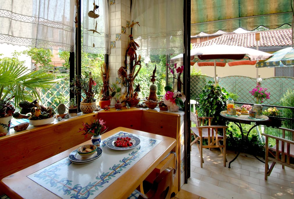 The kitchen and veranda with private garden