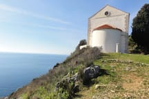 old church of St Blaise at the edge  of ambys with amazing view, 10 minutes walk