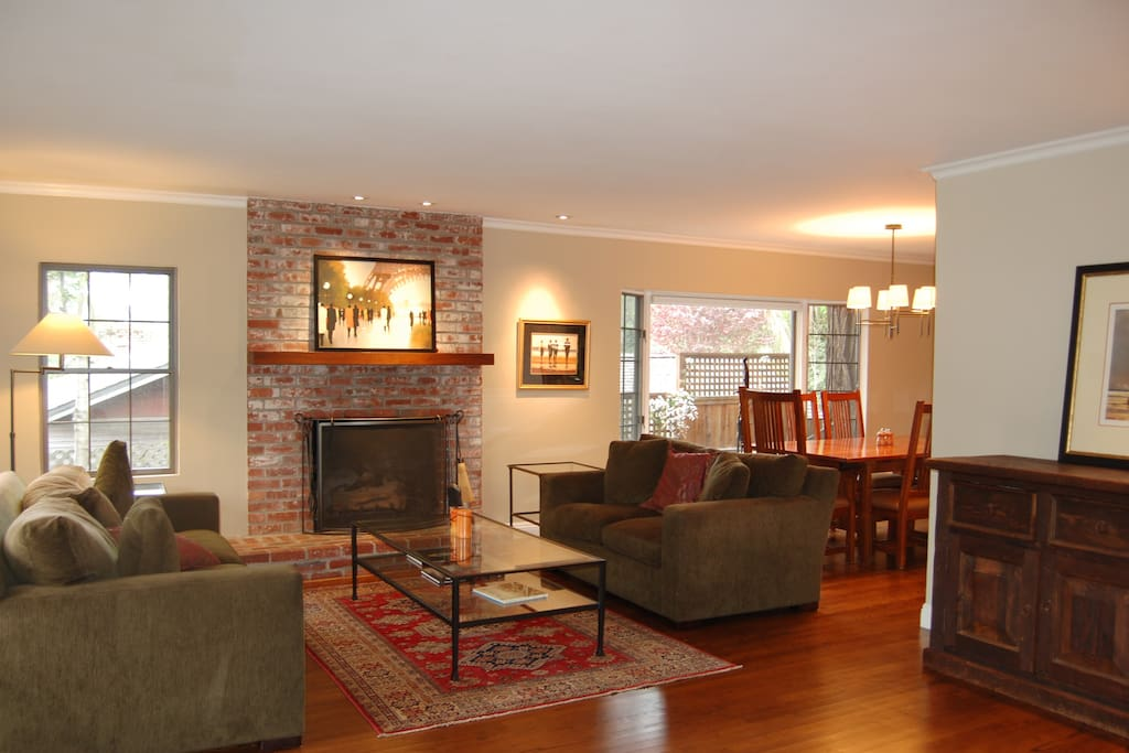Warm, inviting living room with gas fireplace. Perfect for late night reading and games