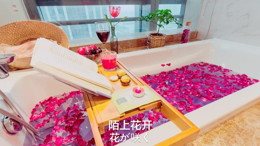 网红民宿&苏州火车站&地铁二四号线玫瑰牛奶浴套房