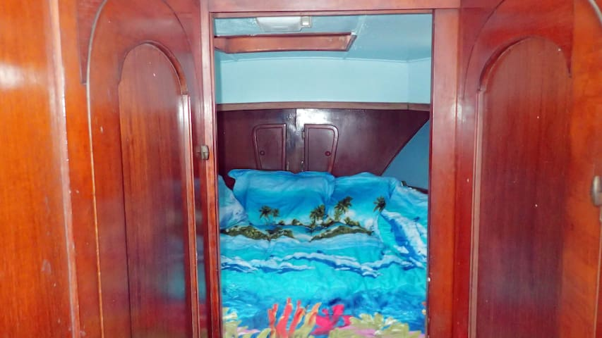 You'll love the large king size bed in the captain's cabin.