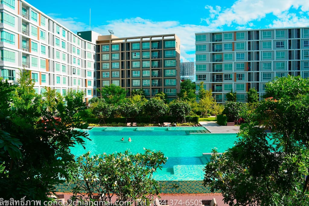 Condo with biggest swimming pool in chiang mai condominiums for rent in amphoe mueang chiang for Chiang mai house for rent swimming pool