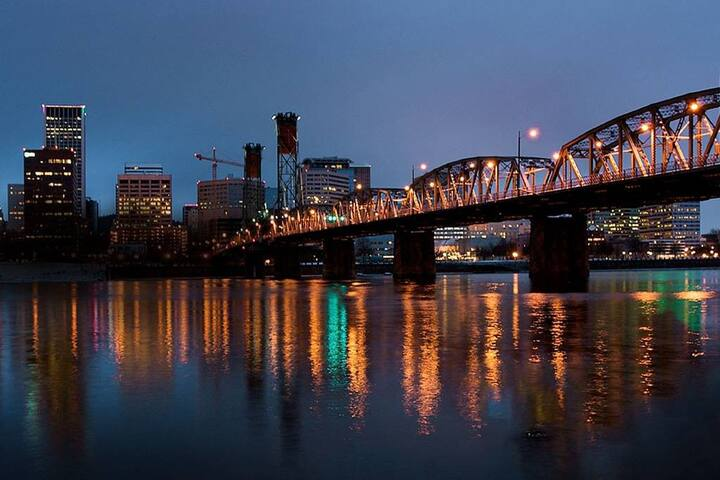 Portland has quite a few bridges, which are just gorgeous when lit at night.
