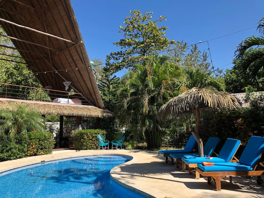 The pool and patio area lies between the two houses and the thatched Rancho