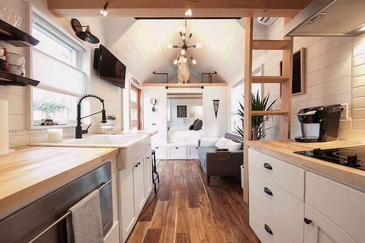Full kitchen: farm sink, fridge/freezer, range, dishwasher, microwave, dishes, pots/pans, etc