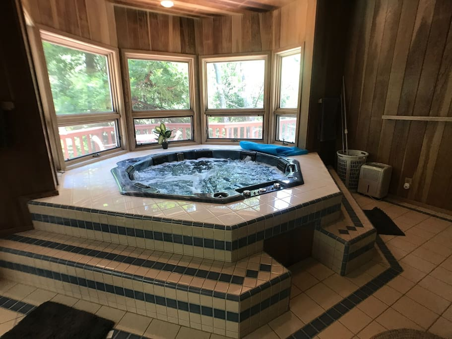 indoor spa fits up to 8 ppl comfortably