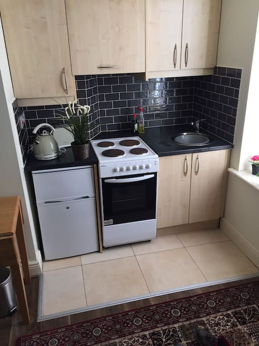 Small fully equipped kitchen area