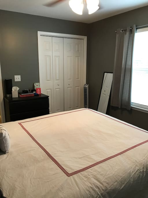 View of guest room with a queen bed, closet, tower fan, full length mirror, and dresser.