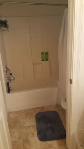 shower with shampoo and conditioner provided