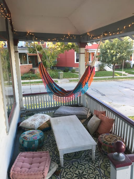 Cozy corner front porch