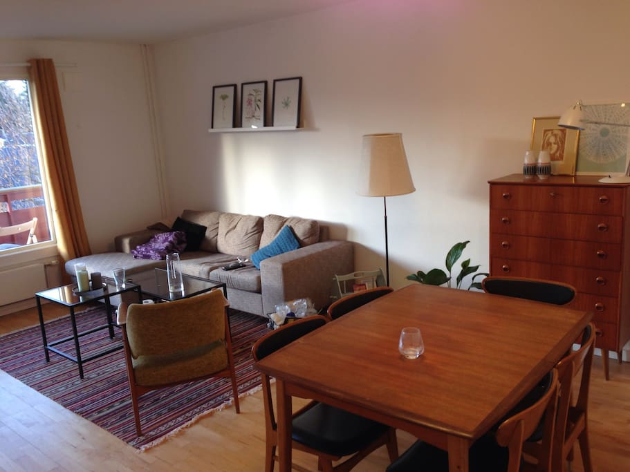 Bright living room with dining table