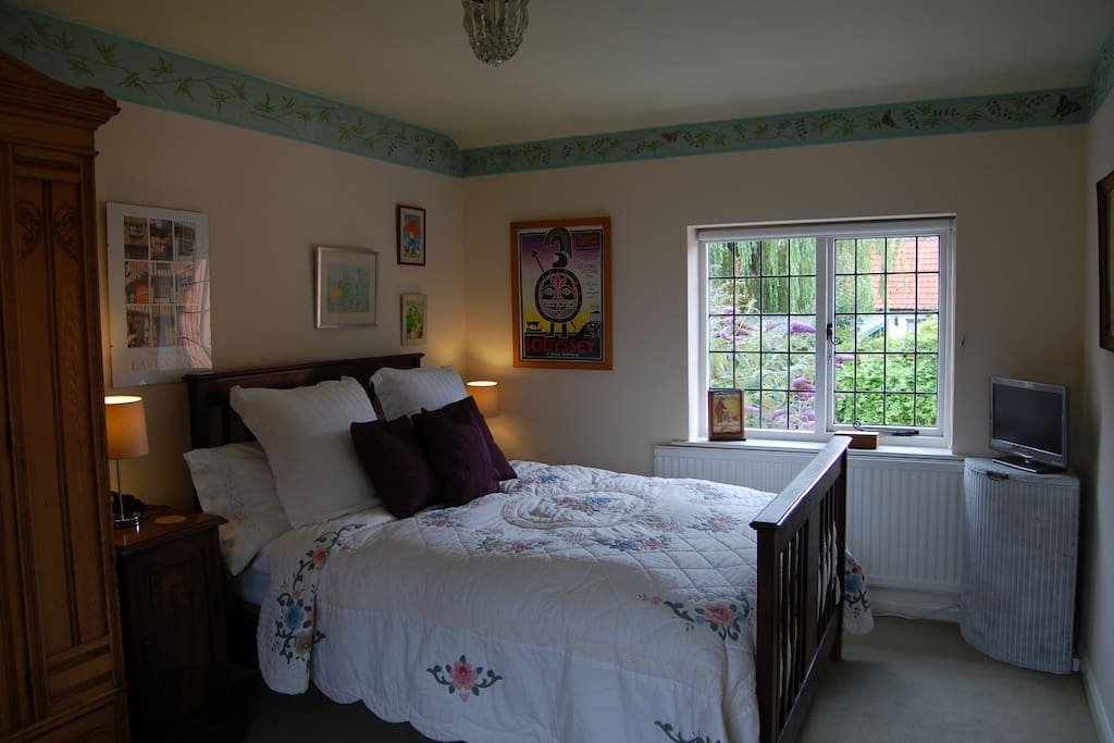 Comfortable room with good views of garden from both windows