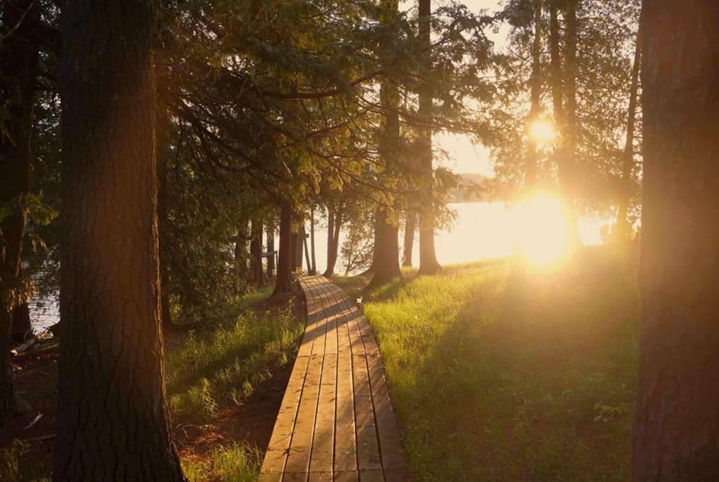 early morning sunrise on the boardwalk across the island