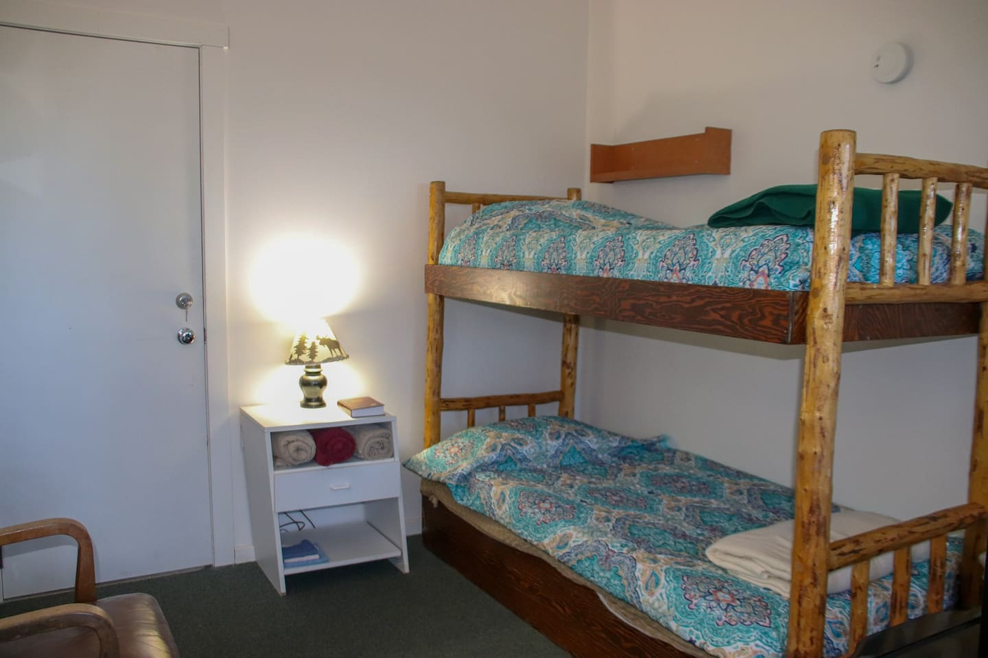 the bedroom with twin bunkbeds
