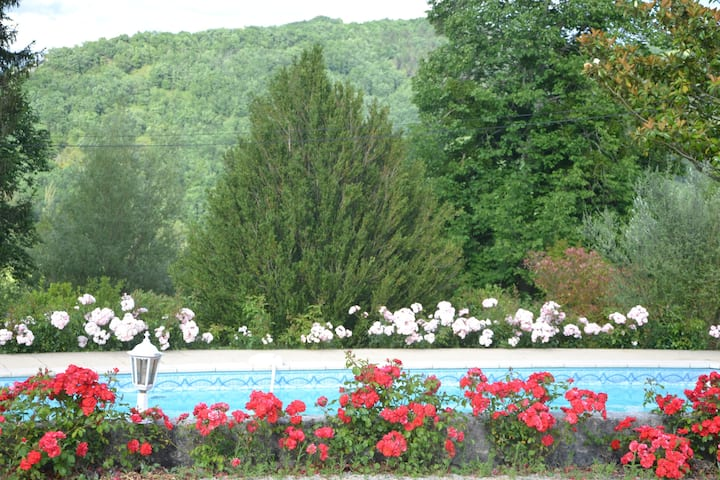Studio indépendant avec piscine dans roseraie bio