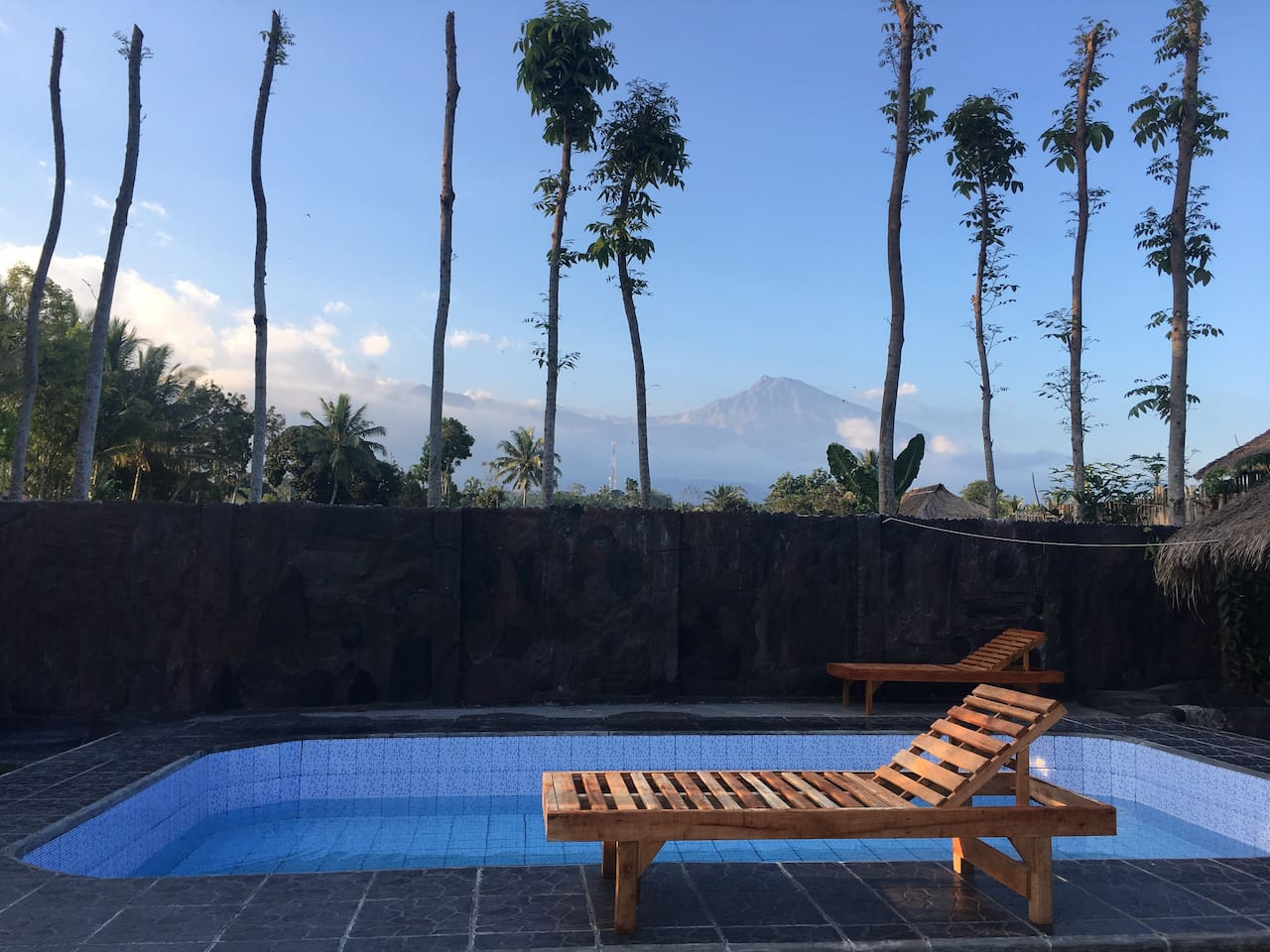 Swimming pool with rinjani view