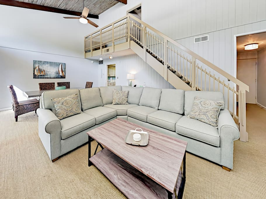 Sleeper sofa with seating for 5.
