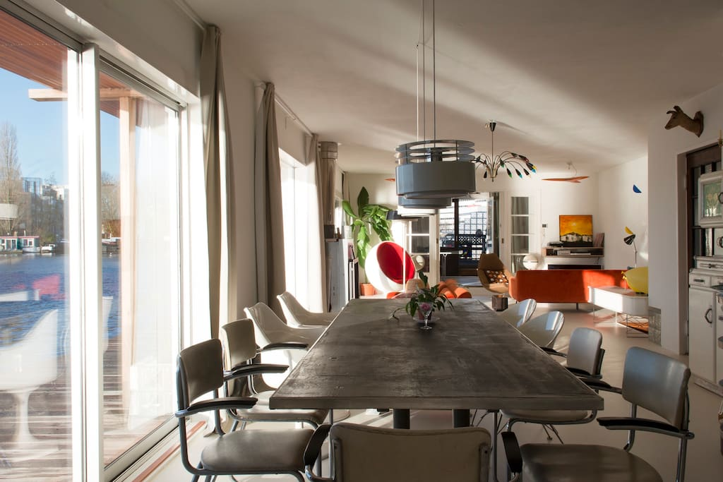 Spacious living with dining table