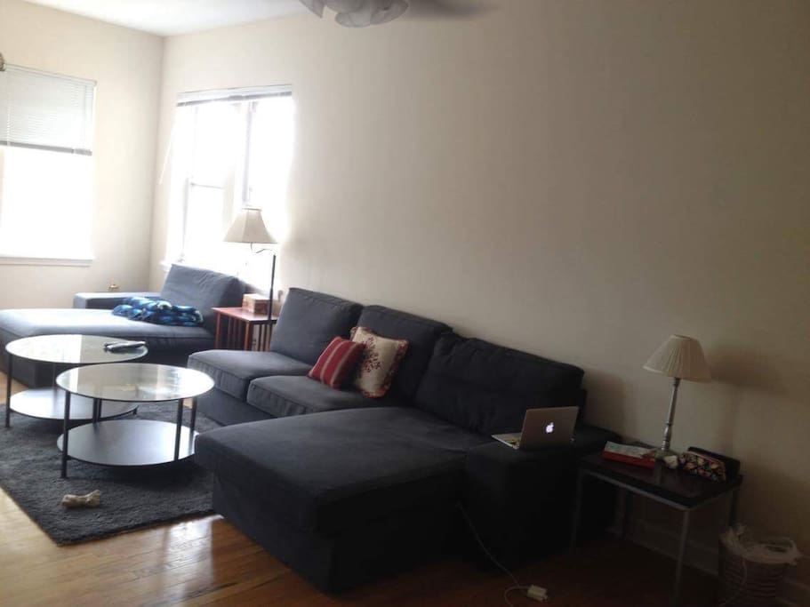 Living room has a large couch and lots of windows