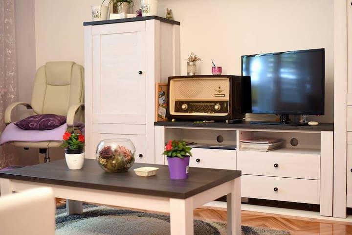 Flat screen TV, living room full of light