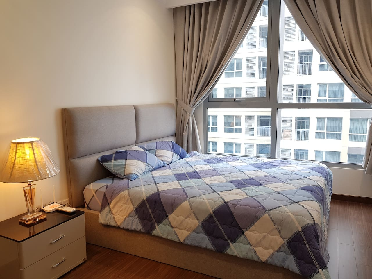 Cozy bedroom with king size mattress