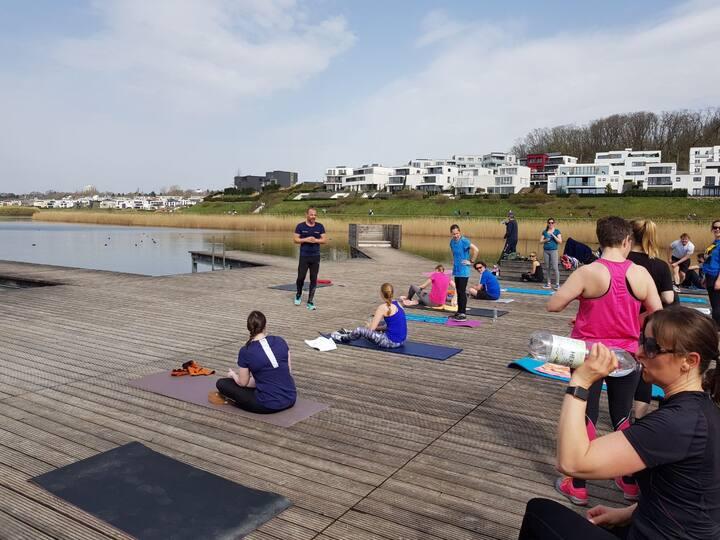 Yoga at lake phoenix - original