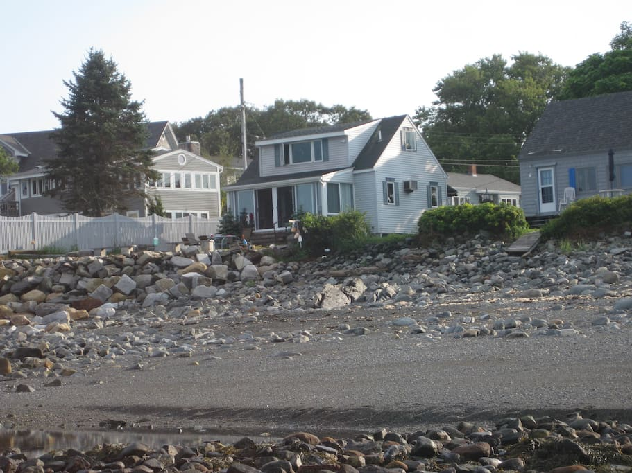 View of the house from the ocean. Great beach at low tide.